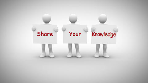 White characters showing signs saying share your knowledge Animation