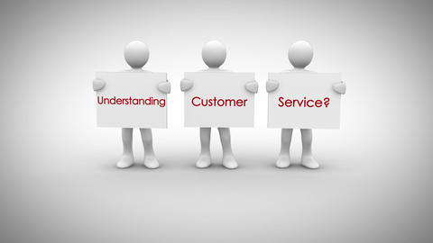 White characters showing signs saying understanding customer service Animation