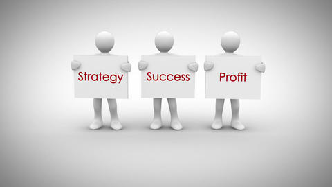 White characters showing signs saying strategy success profit Animation
