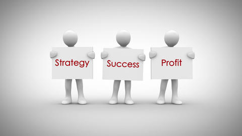 White characters showing signs saying strategy success…, Stock Animation