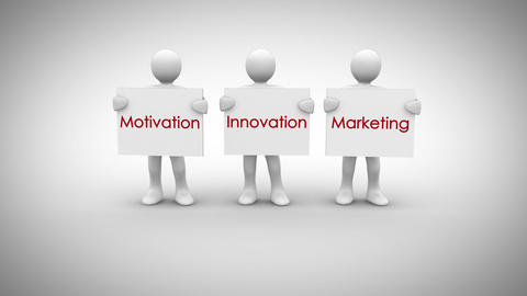 White characters showing signs saying motivation innovation marketing Animation