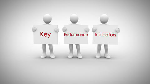 White characters showing signs saying key performance indicators Animation