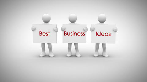 White characters showing signs saying best business ideas Animation