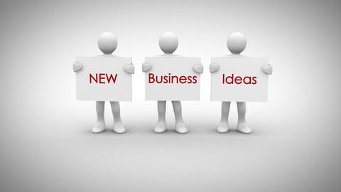 White characters showing signs saying new business ideas Animation