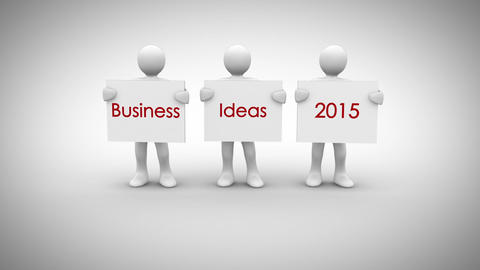 White characters showing signs saying business ideas 2015 Animation