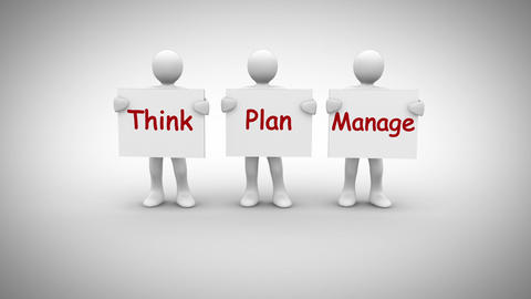 White characters showing signs saying think plan manage Animation