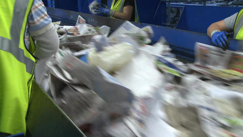 Hard-working Recycling Workers (2 Of 5) stock footage