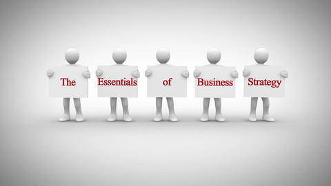 White characters showing signs saying the essentials of business strategy Animation
