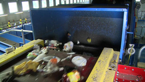 Slo-mo Of Blue Waste Facility Conveyor (5 Of 10) stock footage