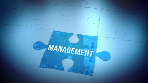 Management jigsaw falling into place Stock Video Footage