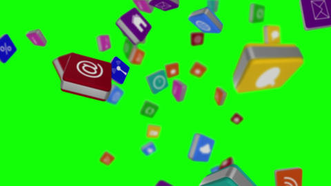Falling computer app icon cubes Animation
