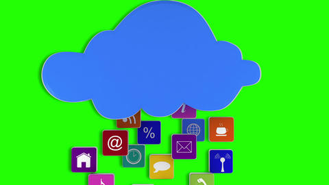 App icons floating up to cloud Animation