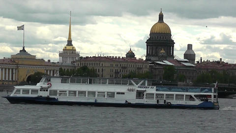 Excursion boat floats on the river Footage