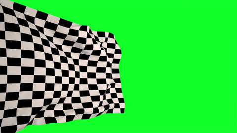 Checkered flag against green screen Animation
