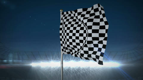 Checkered flag in flashing arena Animation
