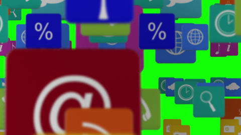 Many rows of app icons Animation