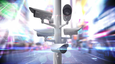 CCTV cameras over a busy road Animation