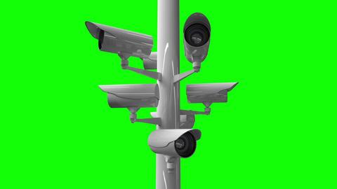 CCTV cameras against green screen Animation
