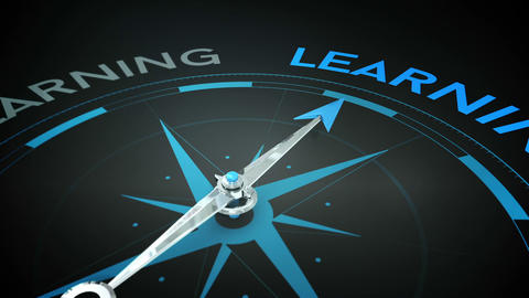 Compass pointing to learning Animation