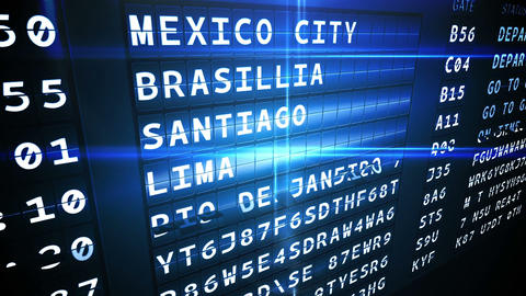 Departures board for south american cities Animation