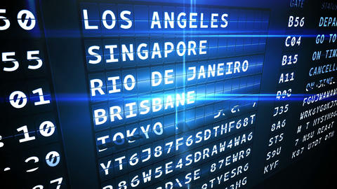 Departures board for american cities Animation