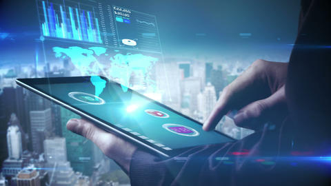 Businessman using tablet to view holographic interface Animation