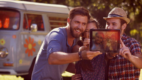 Hipster friends taking a selfie on a summers day Footage