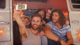 In high quality format hipster friends on road trip taking selfie - cinemagraphs Live Action
