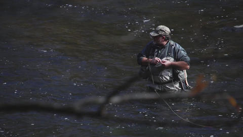 Man Fly Fishing In River (3 Of 3) stock footage