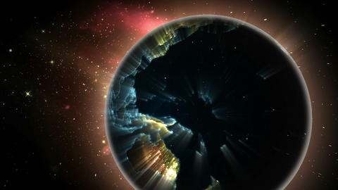 Glowing light spreading over the earth Animation