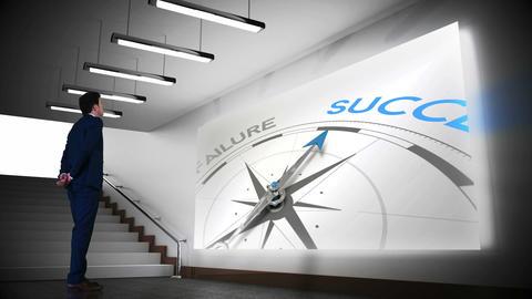 Businessman viewing success compass clip Animation