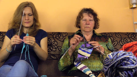two generations nice spend free time knitting room, focus change Footage