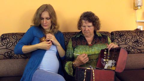 grandma chose leather flower brooch gave pregnant granddaughter Footage