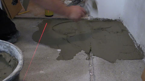 Handyman trowel spread adhesive for ceramic tile stick on floor Footage
