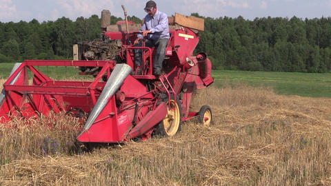 Farmer harvest barley plants with combine harvester in field Footage