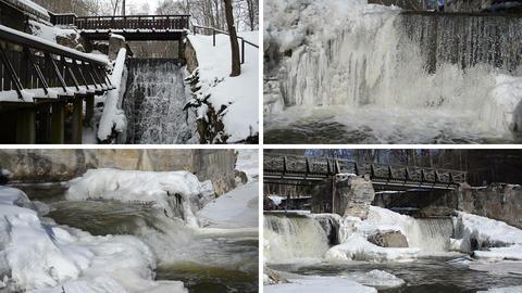 brook waterfall cascade retro bridge frozen ice icicles winter Footage
