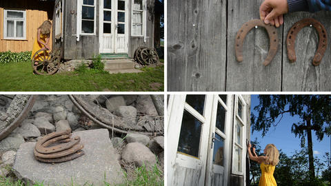 Woman decorate house with wheel and horse shoe. Clips collage Footage