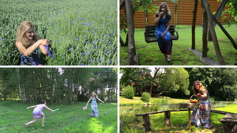 Woman summer entertainment in nature. Video collage Footage