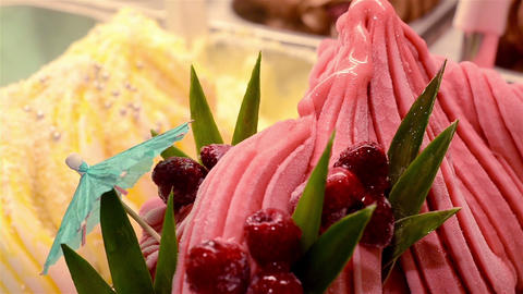 Italian gelato ice cream and raspberries Footage