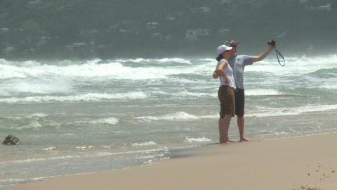 Couple enjoys the beach (1 of 2) Footage