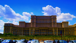 Romanian Parliament Or People's House In Bucharest, Romania.Time Lapse,Pan stock footage