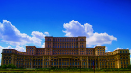 Romanian Parliament Or People's House In Bucharest, Romania.Time Lapse,Static Sh stock footage