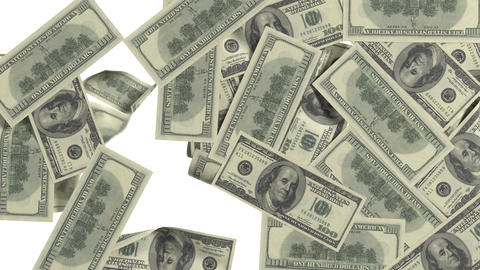 Dollar bills sticking to the screen. Black-and-white mask. Isolated on white and Footage