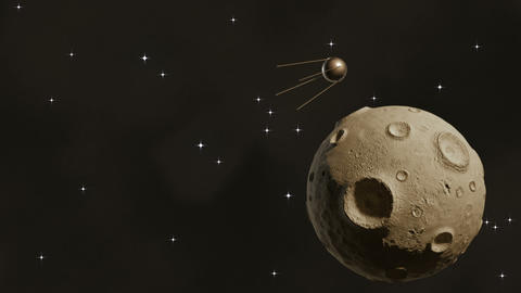 Sputnik Flying In Space Near A Large Asteroid stock footage