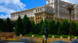 Romanian Parliament Or People's House In Bucharest, Romania.Time Lapse,Tilt stock footage