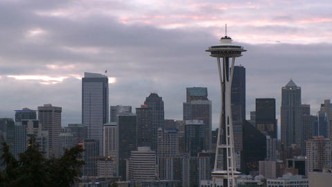 Windy Seattle Skyline - Time Lapse stock footage
