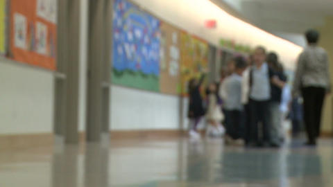 Teacher Lining Up Grammar School Students In The Hallway (2 Of 2) stock footage