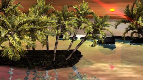 Beautiful Sunset Moment On Tropical Paradise Island stock footage