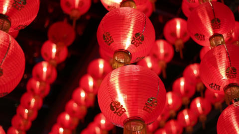 Chinese red lanterns at night Footage