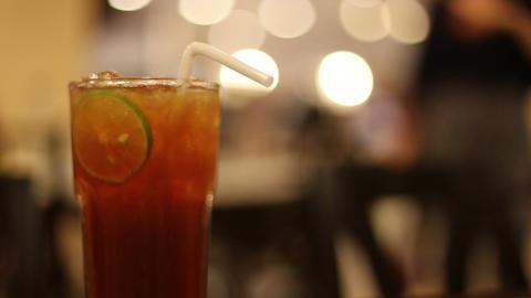 Ice Tea With Lime Slice stock footage